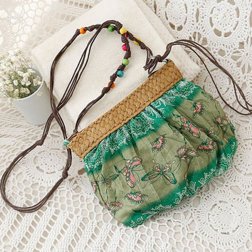 Messenger Bags Summer Travel Beach Bag Weave Crossbody Shoulder Bags Patchwork Handbags