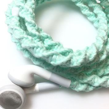 Wrapped Apple Earbuds - Tangle Free Earbuds - Mint Julep