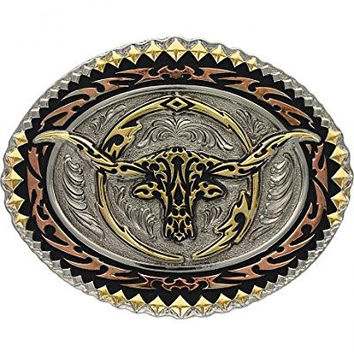 Montana Silversmiths Men's Tri-Colored Oval Longhorn Steer Attitude Buckle Multi One Size