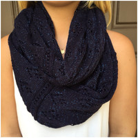 Dark Navy Sparkle Knit Infinity Scarf - Dark Navy Sparkle
