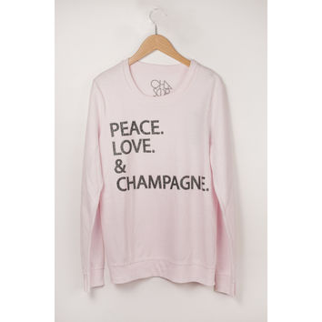 Peace, Love and Champagne Fleece Pullover