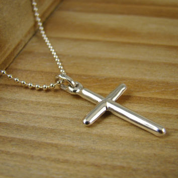 Adult Cross Necklace, Cross Pendant for Men, Sterling Silver