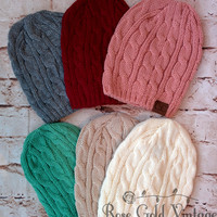 Cable Knit CC Beanies - Indi Pink, Burgundy or Taupe
