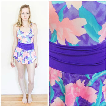 80s vintage swim suit / one piece purple peplum high waisted bathing suit / Floral retro onsie size small/xs s