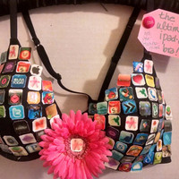 Ultimate iPadded Bra, Altered Bra, Upcycled Bra, Wall Decor, Breast Cancer, iPad Bra, Rave Bra, Black Bra, For Woman, For Her, iPad Icons