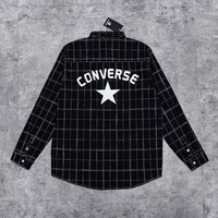Converse New fashion letter star print plaid long sleeve coat shirt