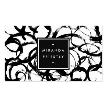 Black White Brushstrokes Fashion Stylist Designer Business Card