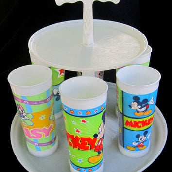 Tupperware Caddy Vintage Kitchen Disney Mickey Mouse Tumblers Carousel Rare