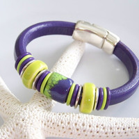 Puple Regaliz Leather and Artisan Enamel Over Copper Focal Bracelet - Item R1305