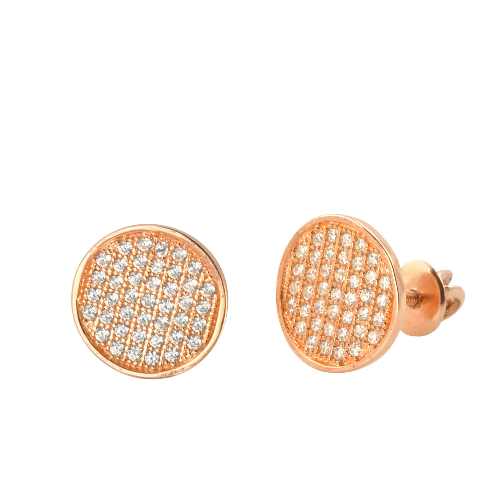 Sterling Silver Screw Back Earrings Rose Gold Plated Pave CZ Studs 10mm  Circle 1205e27e5
