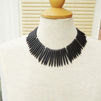 Black Magnetite Necklace, Black Gemstone Necklace, Black Bib Necklace