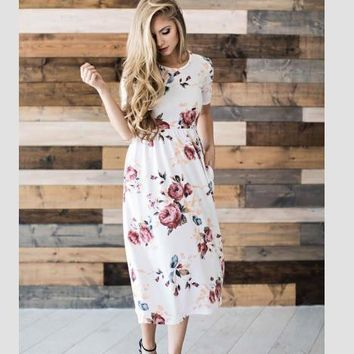 Fashion Casual Multicolor Flower Print Short Sleeve Round Neck Maxi Dress