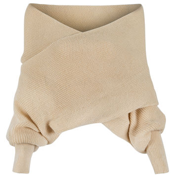 Beige Off Shoulder V-neck Wrap Detail Long Sleeve Knit Sweater