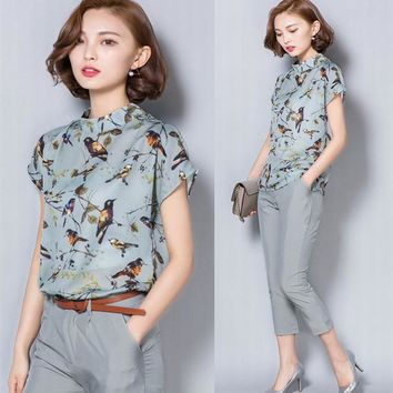 2016 new women's set Korean temperament OL ladies fashion two pieces set birds printed short-sleeved tops+pants suit