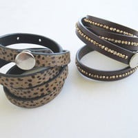Upcycled Leather Bangle, Leather Cuff, Wide Leather Strap Bracelet, Leather Bangle Bracelet.