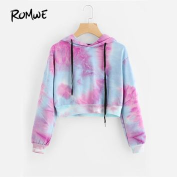 ROMWE Water Color Crop Hoodies Multicolor Casual Women Drawstring Hooded Sweatshirt 2018 Autumn Tie Dye Long Sleeve Hoodies