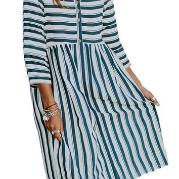 White Navy Striped Casual Fall Midi Shirt Dress