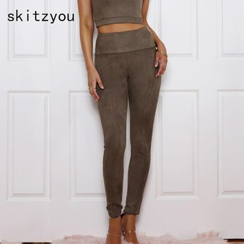 skitzyou 2017 Autumn Winter Women Suede Pant Faux Leather Women Sexy Slim High Waist Retro Skinny Vintage Black Pencil Pants