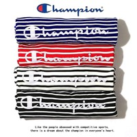 hcxx 1468 SHIPS JET BLUE Champion Striped embroidered LOGO T-shirt with short sleeves