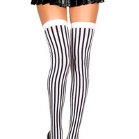 Black White Opaque Striped Thigh Highs - Buy Online Australia Tragic Beautiful