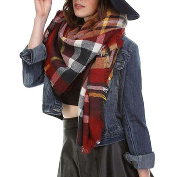 Plaid Oversized Blanket Scarf - Barn Red