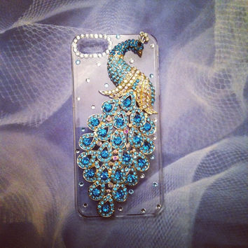 iPhone 5 Sparkling Turquoise Jeweled Peacock Rhinestone by VD5555