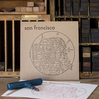 "San Francisco Letterpress Map 8"" x 8"" Neighborhood Print"