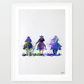 Cowboys Watercolor illustration Art Print,Nursery/Kids Art Print,Wedding,Birthday Gift, #209