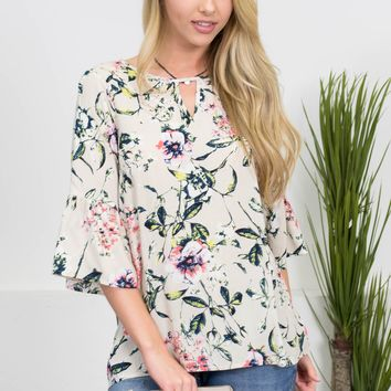 Lucinda Floral Ivory Top