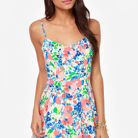 Fleur-ocious Blue and Coral Floral Print Dress