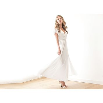 Ivory Wrap Dress With Lace Sleeves, Wedding Simple Gown With Slit, Short Sleeves Lace Dress