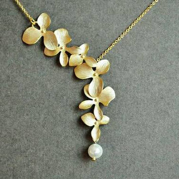 Gold Orchid Necklace - Beaded Necklace - Flower Necklace - Delicate Necklace