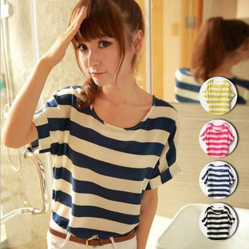 New Women Colorful Stripe style Chiffon blouse shirt lady fashion Batwing short sleeve Loose Blouse Top = 1946681860