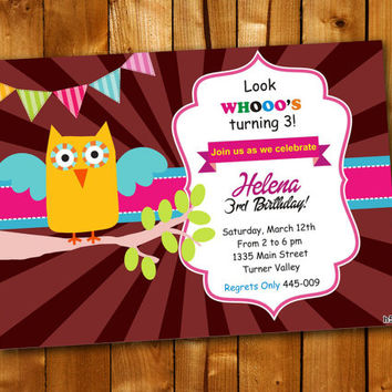 Owl Colorful birthday, Birthday Invitation, Birthday Party for little boy and little girl