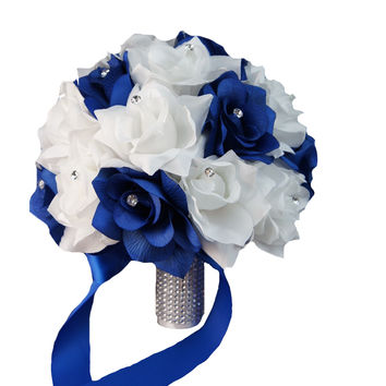 "10"" Bridal Bouquet: Royal blue and white artificial roses,rhinestone accents"