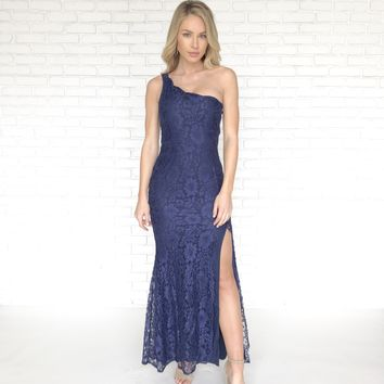 Scallop & Lace Maxi Navy Blue Dress