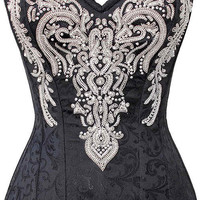 Black-White Victorian Embelishments Corset NS-WT540