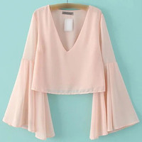 Pink Bell Sleeve V Neck Chiffon Blouse