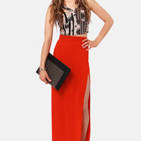 She's Got Legs Red Maxi Skirt