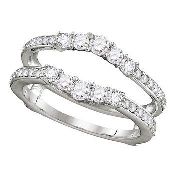 14kt White Gold Women's Round Diamond Ring Guard Wrap Solitaire Enhancer 3/4 Cttw - FREE Shipping (US/CAN)