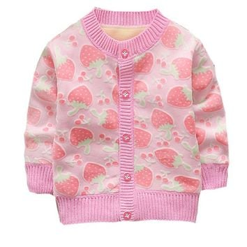 Little Girl Strawberry Long Sleeve Sweater