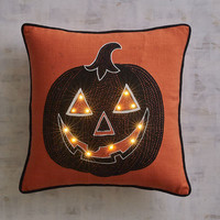 Jack-o'-Lantern LED Light-Up Pillow