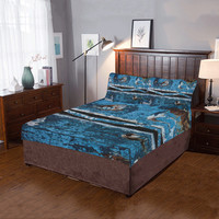 Blue painted wood 3-Pieces Bedding Set | ID: D2031192