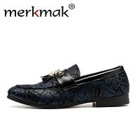 Merkmak Men Tassel Loafers Shoes Fashion Snakeskin Pattern PU Leather Slip On Comfortable Wedding Casual Man Large Size 48 Flats