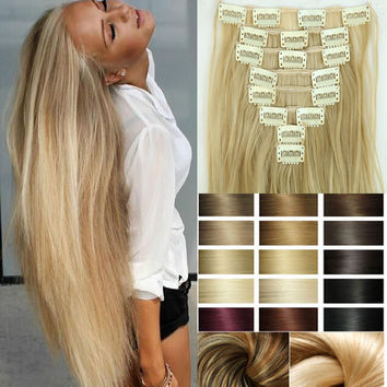 Hairpiece 23inch 170g Straight 18 Clips Synthetic Clip In Hair Extensions 8pcs/set Heat Resistant