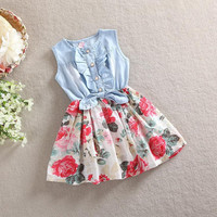 Hot Baby Girls Denim Dress Floral Kids Princess Dresses Cotton 2014 Summer Sleeveless Tutu Dress Fashion Party Dresses 4pcs Fast Shipping.