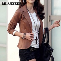 Office lady solid slim business blazers women autumn notched collar full sleeves no pocket Women Blazer And Jackets Plus Size