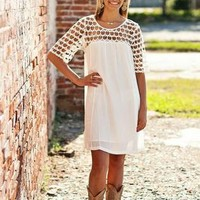White Crochet Top Dress