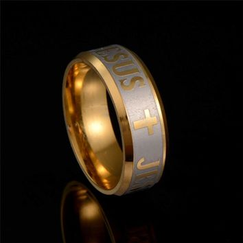 Large Size 8mm Stainless Steel Jesus Cross Prayer Ring Letter Bible Wedding Bands for Lovers Gift