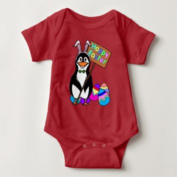 Easter Penguin with Colored Eggs Baby Bodysuit